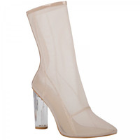 High Society Nude Mesh Ankle Boot
