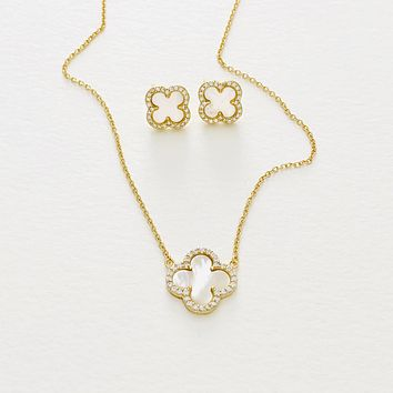 Clover Pendant Necklace and Earring Gift Set