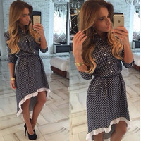 Polka Dot Lace Trimmed High-Low Dress