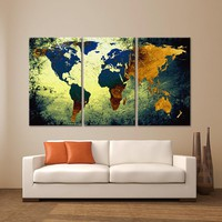 """LARGE 30""""x 60"""" 3 Panels Art Canvas Print World Map Texture Abstract Blue yellow orange Wall Decor home office interior  ( framed 1.5"""" depth)"""