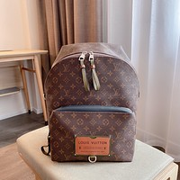 LV Louis Vuitton Men's and Women's Simple Retro Canvas Backpack