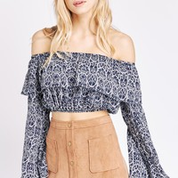 Navy Over The Hills Off-The-Shoulder Cropped Top