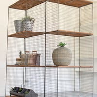 Raw Metal & Honey Wood Folding Shelving Unit On Casters