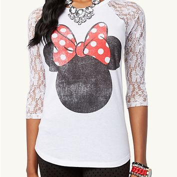 Minnie Mouse Lace Raglan Top   Graphic Tees   rue21