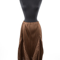 Brown Textured Skirt with Elastic Waist and Pleats
