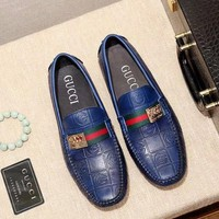 GUCCI Tide brand men's embossed sets of feet shallow mouth casual wild peas shoes blue