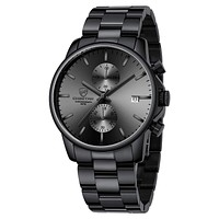 GOLDEN HOUR Men's Watches with Black/Silver Stainless Steel and Metal Casual Waterproof Chronograph Quartz Watch, Auto Date in Colorful Hands black grey