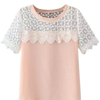 Lace Embroidered Short Sleeve Blouse