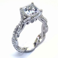 925 sterling silver CZ solitaire enagagement ring princess cut beautiful elegant