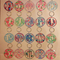 Lilly Pulitzer Inspired Monogram Keychain