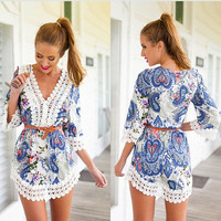 SIMPLE - Lace Sexy Floral Printed V Neck One Piece Dress a12095