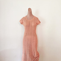 Beautiful 1960s Coral Vintage Crochet Cap Sleeved Dress Button Decorated Shoulders
