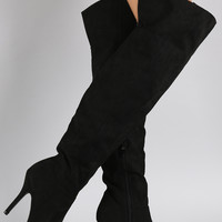 Qupid Pointy Toe Over-The-Knee Stiletto Boots