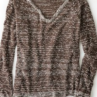 AEO Women's Don't Ask Why Marled V-neck Sweater