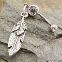 Feather Belly Button Ring Silver Tribal Feather by MidnightsMojo
