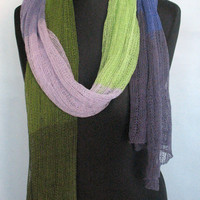 Natural Linen Scarf Shawl Wrap Stole Green Salad Purple Organic Spring SALE