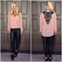 Set In Motion Wrap Blouse - DUSTY PINK