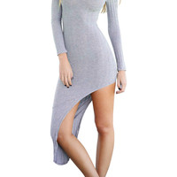 Grey Cut Out Long Sleeve Asymmetric Midi Dress