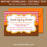 Thanksgiving Invitation Template - Thanksgiving Birthday Invites - Fall Birthday Invitations - Autumn Baby Shower Invitation Party Printable
