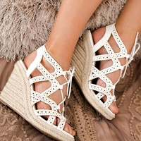Stand Tall Not Rated Lace Up Wedges (White)