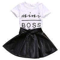 Short Sleeve Mini Boss T-shirt Tops + Leather Skirt 2PCS Outfit