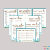 Boy Baby Shower Safari Games Package - EIGHT Printable Games: Bingo, Price is Right, Purse Game, etc - Safari Baby Shower Games - BS0001-B