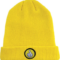 Bro Style Thumb Patch Cuff Beanie Yellow