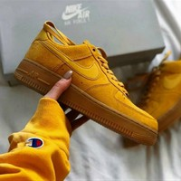 """""""Nike """"Air force Low to top shoes wheat color sandals leisure sports shoes Brown"""