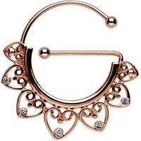 Clear Gem Rose Gold PVD Filigree Heart Universal Nipple Ring   Body Candy Body Jewelry