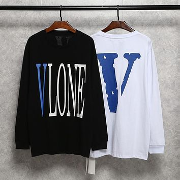 Chaoge Vlone Long Sleeve T-Shirt Behind the blue big V letter Round neck long T University T Boys1