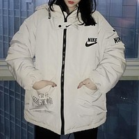 NIKE Winter New Popular Men Women Casual Hoodie Zipper Cardigan Jacket Coat Beige White