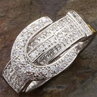Sterling Silver Pave Buckle Ring - Accessories