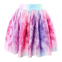 Bow Tie Pleated Mini Skater Skirt