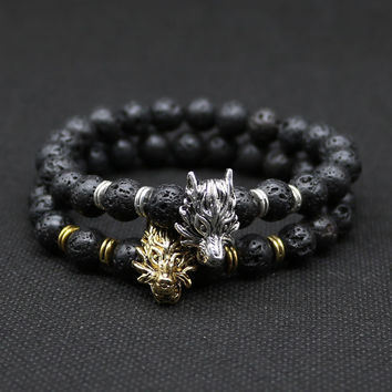 8mm Silver Plated Animal Wolf Head Bracelet With Natural Black Lava Rock Stone