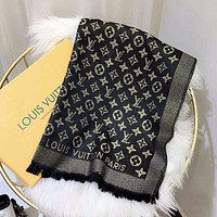 LV spring and summer thin gold scarf men's and women's gauze pure cotton and hemp versatile shawl women's neck silk scarf tide gauze