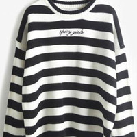 Black Stripe Knitted Pullover Sweater
