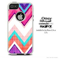 The Pink & Blue V1 Chevron Pattern Skin For The iPhone 4-4s or 5-5s Otterbox Commuter Case