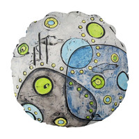 Gray Throw Pillow in abstract design with lime green and blue, 16 inch pillow with insert, mid century modern geometric pillow cover