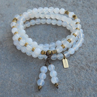 Calm, 108 Bead Mala White Agate Wrap Bracelet Or Necklace