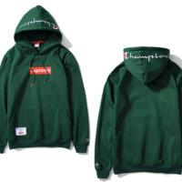 The new tide brand solid color embroidery Champion cotton long - sleeved velvet hooded sweater Green