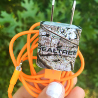 Orange cord- Realtree camo iphone 5 6 7 charger