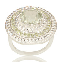 Green Amethyst And Peridot 925 Sterling Silver Gemstone Cocktail Ring