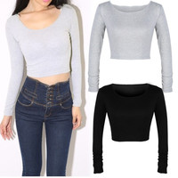 women long sleeve cropped top t-shirt belly tops blouses shirts hot D_L