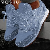 Casual Glitter Flat Lace Up Sneakers