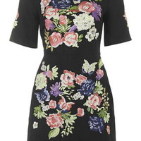 Limited Edition Floral Embroidered A-Line Dress - Black