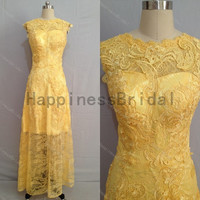 Gold Lace prom dress with applique,prom dress,gold lace prom dress,long evening dress,real formal dress .hot sales dress 2014 .lace dresses