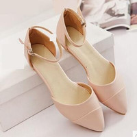 Women new spring Summer fashion sandals flat heels slippers casual pointed toe gladiator low buckle shoes