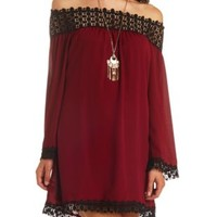 Off-the-Shoulder Crochet Trim Shift Dress - Burgundy Cmb