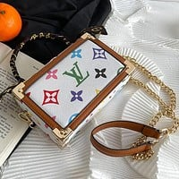 LV Louis Vuitton stitching color printing letters ladies shopping handbag chain messenger bag shoulder bag with silk scarf #5