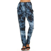 Blue Cloud Tie Dye Lounge Pants with Inverted Seam Stitch